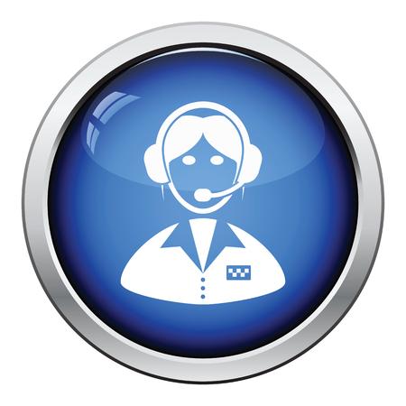 dispatcher: Taxi dispatcher icon. Glossy button design. Vector illustration.