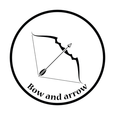 longbow: Bow and arrow icon. Thin circle design. Vector illustration.