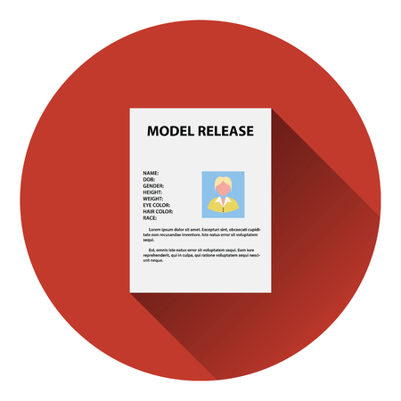 model release: Icon of model release document. Flat color design. Vector illustration.