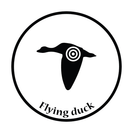 duck silhouette: Flying duck  silhouette with target  icon. Thin circle design. Vector illustration.