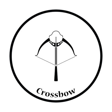 crossbow: Crossbow icon. Thin circle design. Vector illustration.