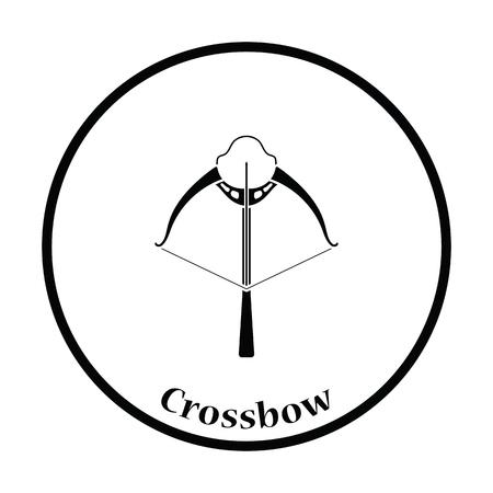 arbalest: Crossbow icon. Thin circle design. Vector illustration.