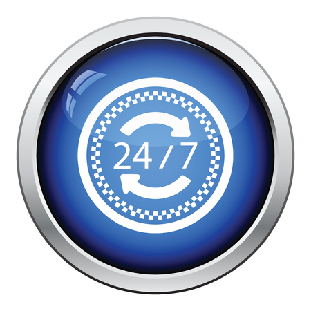 24 hour: 24 hour taxi service icon. Glossy button design. Vector illustration.