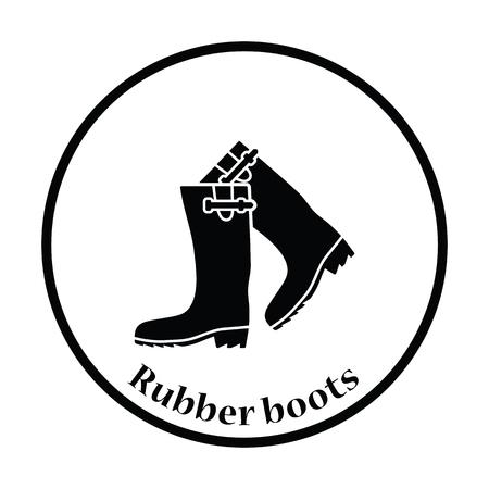 hunters: Hunters rubber boots icon. Thin circle design. Vector illustration. Illustration