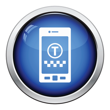car icons: Taxi service mobile application icon. Glossy button design. Vector illustration. Illustration