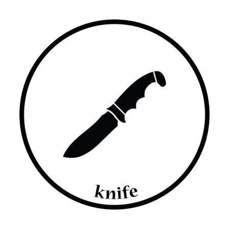 iron defense: Hunting knife icon. Thin circle design. Vector illustration.
