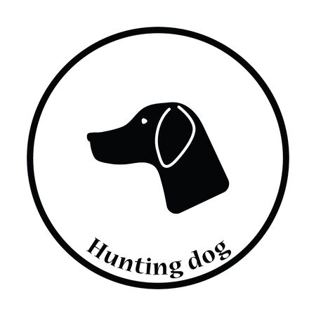 black silhouette: Hunting dog had  icon. Thin circle design. Vector illustration. Illustration