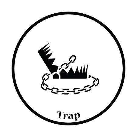 bear trap: Bear hunting trap  icon. Thin circle design. Vector illustration.