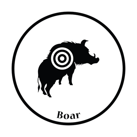 sow: Boar silhouette with target icon. Thin circle design. Vector illustration.