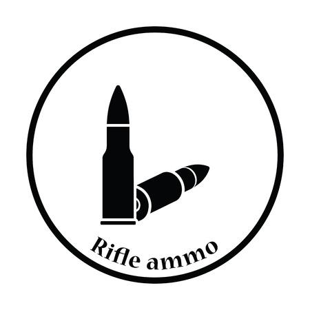ammo: Rifle ammo icon. Thin circle design. Vector illustration. Illustration