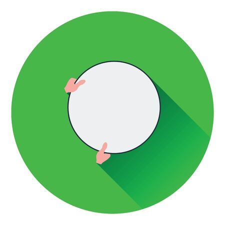alone person: Icon of hand holding photography reflector. Flat color design. Vector illustration.