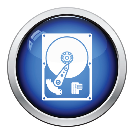 computer peripheral: HDD icon. Glossy button design. Vector illustration.