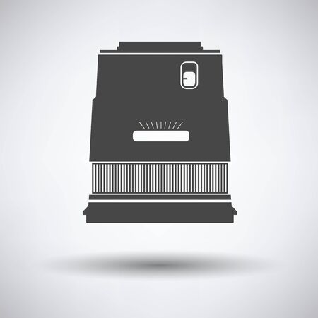 stabilizer: Icon of photo camera wide lens on gray background, round shadow. Vector illustration.