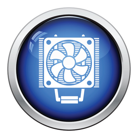 heat sink: CPU Fan icon. Glossy button design. Vector illustration.