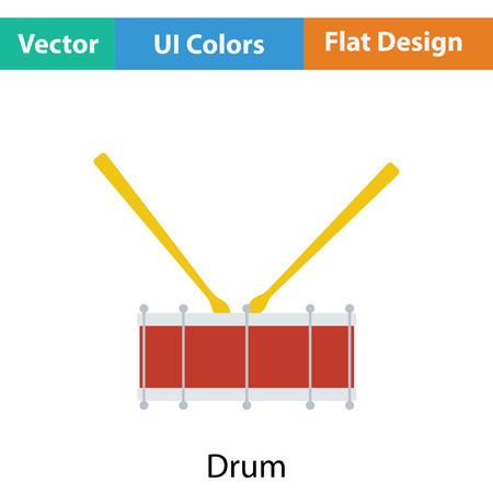 drumming: Drum toy icon. Flat color design. Vector illustration.