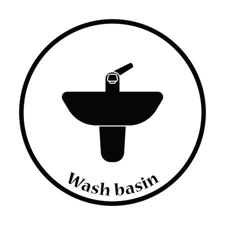 basin: Wash basin icon. Thin circle design. Vector illustration.