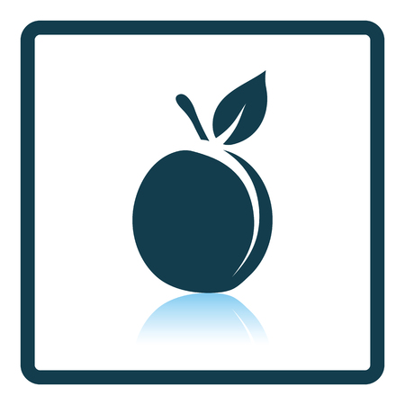 drupe: Icon of Peach. Shadow reflection design. Vector illustration. Illustration