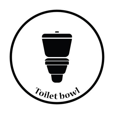 toilet bowl: Toilet bowl icon. Thin circle design. Vector illustration. Illustration