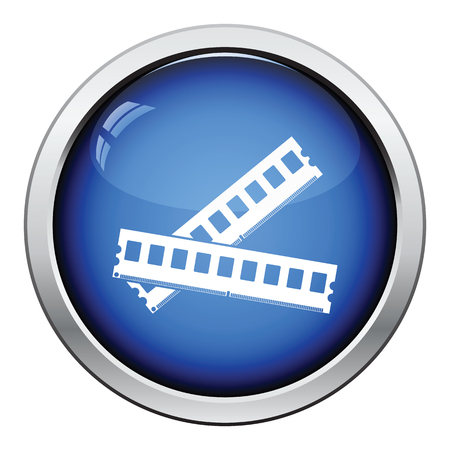 ddr: Computer memory icon. Glossy button design. Vector illustration.