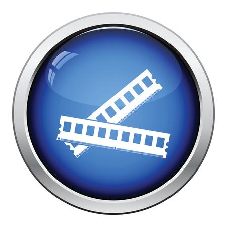 Computer memory icon. Glossy button design. Vector illustration.