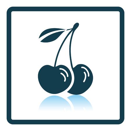 cherries: Icon of Cherry. Shadow reflection design. Vector illustration. Illustration