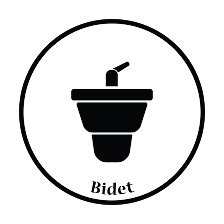 bidet: Bidet icon. Thin circle design. Vector illustration.