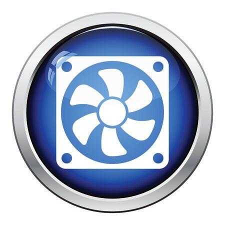 Fan icon. Glossy button design. Vector illustration.