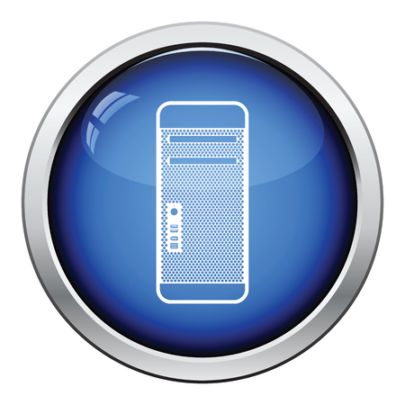the unit: System unit icon. Glossy button design. Vector illustration.