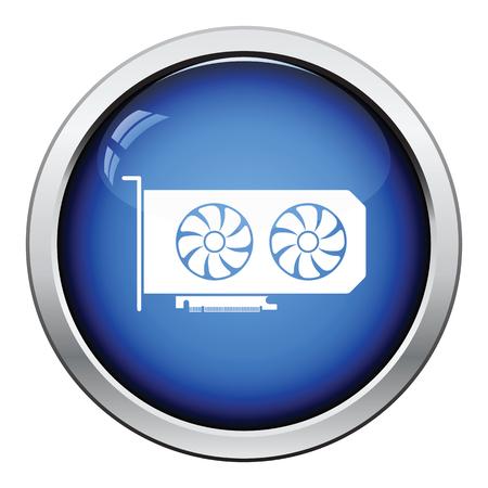 dvi: GPU icon. Glossy button design. Vector illustration.