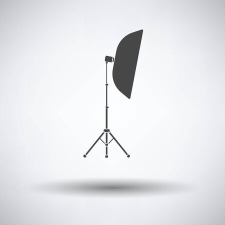 softbox: Icon of softbox light on gray background, round shadow. Vector illustration.