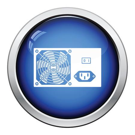 psu: Power unit icon. Glossy button design. Vector illustration.