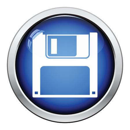 byte: Floppy icon. Glossy button design. Vector illustration.