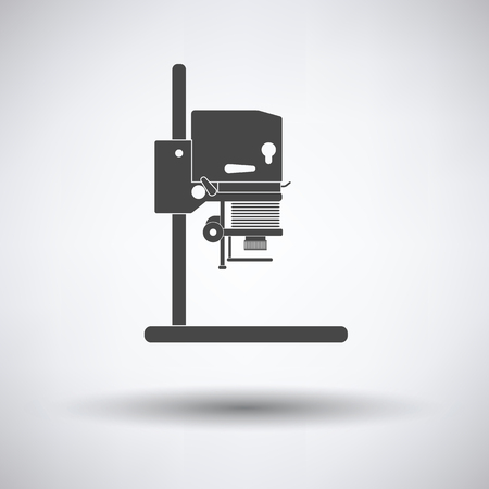 enlarger: Icon of photo enlarger on gray background, round shadow. Vector illustration.