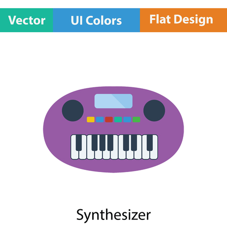 synthesizer: Synthesizer toy icon. Flat color design. Vector illustration. Illustration