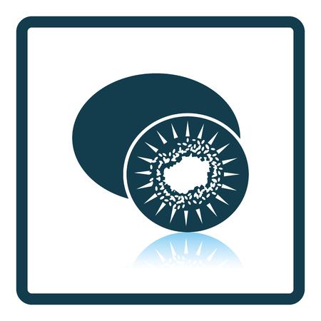 actinidia deliciosa: Icon of Kiwi. Shadow reflection design. Vector illustration. Illustration
