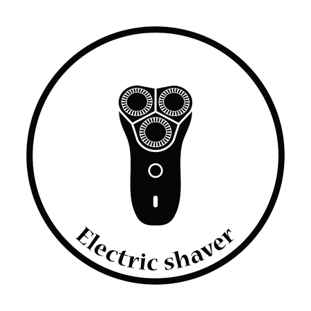shaver: Electric shaver icon. Thin circle design. Vector illustration.