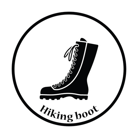 hiking boot: Hiking boot icon. Thin circle design. Vector illustration.