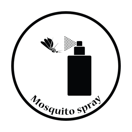 skin infections: Mosquito spray icon. Thin circle design. Vector illustration. Illustration