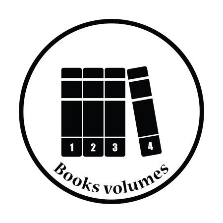 volumes: Books volumes icon. Thin circle design. Vector illustration.