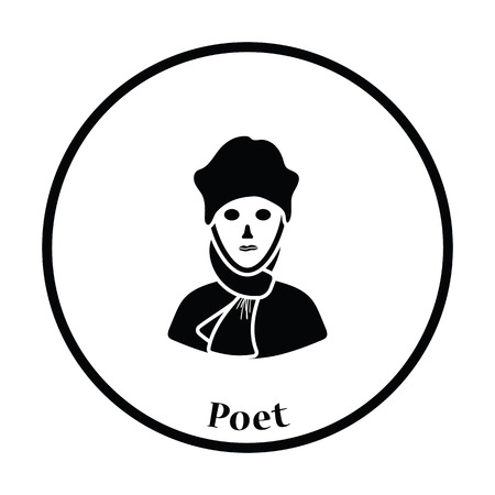 a poet: Poet icon. Thin circle design. Vector illustration.