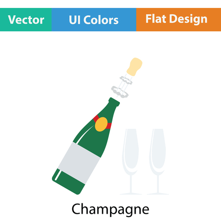 clink: Party champagne and glass icon. Flat color design. Vector illustration.