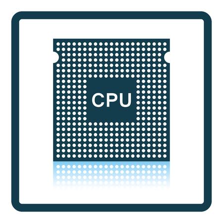 semiconductor: CPU icon. Shadow reflection design. Vector illustration.