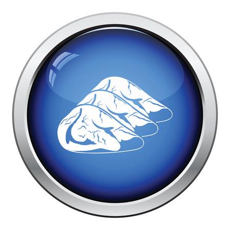 meat steak: Raw meat steak icon. Glossy button design. Vector illustration.