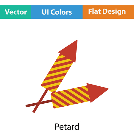 petard: Party petard  icon. Flat color design. Vector illustration. Illustration