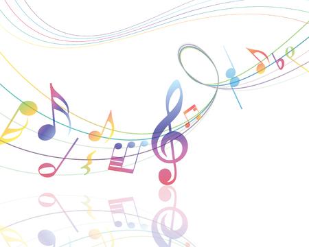 Diseño de los elementos musicales del personal de la música con Clave de sol y notas en gradiente de colores transparentes. Ilustración del vector. Ilustración de vector