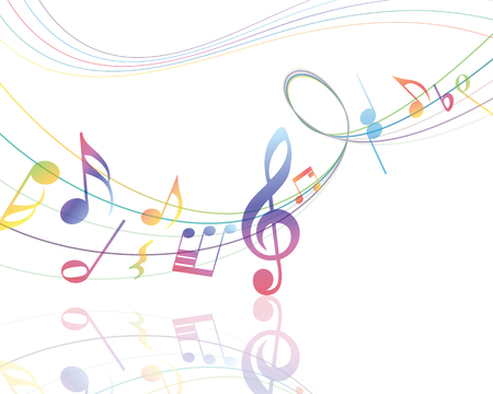 minim: Musical Design Elements From Music Staff With Treble Clef And Notes in gradient transparent Colors. Vector Illustration.