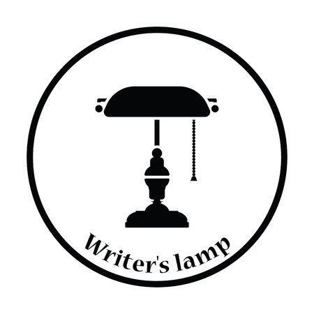 writers: Writers lamp icon. Thin circle design. Vector illustration.