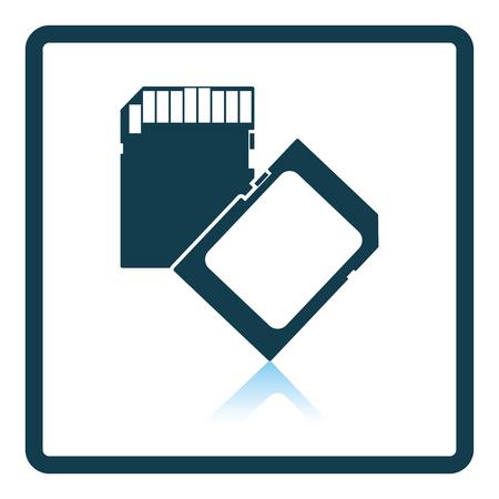 micro drive: Memory card icon. Shadow reflection design. Vector illustration.