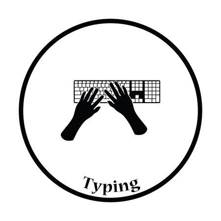 mecanografía: icono de escribir. diseño del círculo delgada. Ilustración del vector.