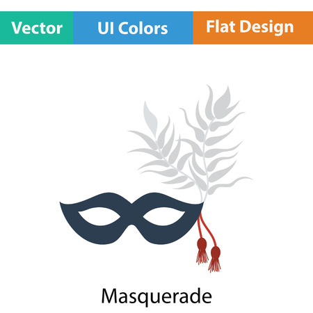 decoration decorative disguise: Party carnival mask icon. Flat color design. Vector illustration. Illustration